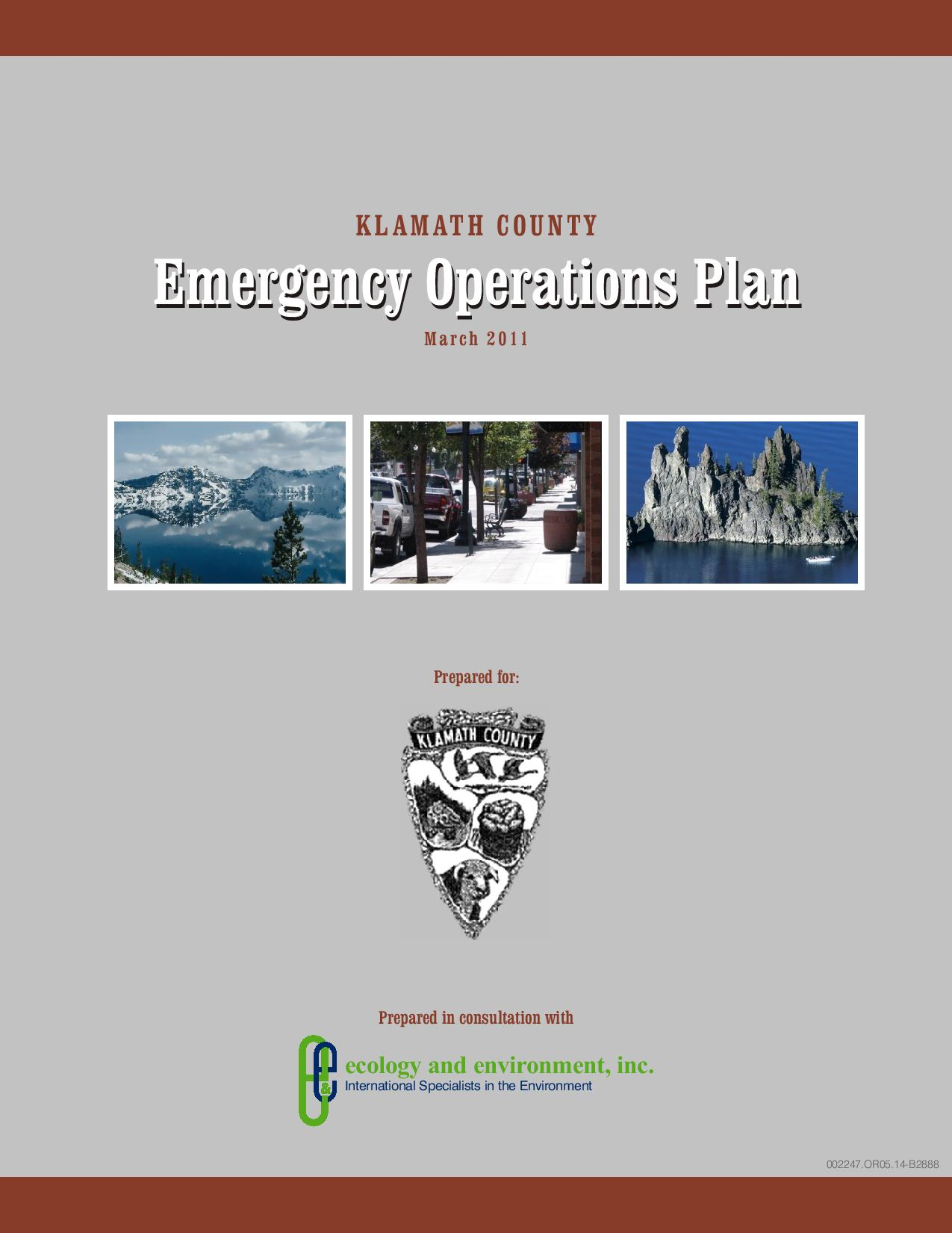 Emergency Operations Plan Cover Opens in new window
